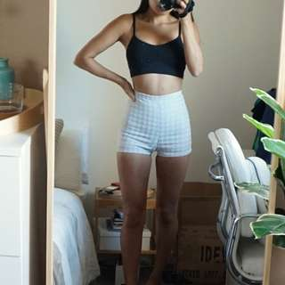 American Apparel Silver Houndstooth Shorts