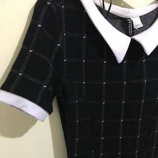 H&M Black Dress With White Dotted Lines
