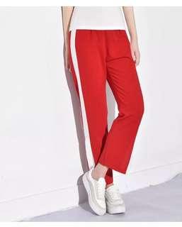 Red side split Sporty long pants