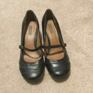 Black Leather Wedges with Strap | fits size 7