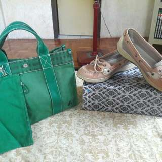 SPERRY TOPSIDER SHOES For Women B1G1 Free BEANPOLE Genuine Leather Cotton Canvas Tote Bag