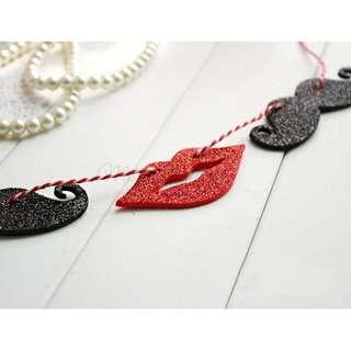 Mini Moustache And Lip Red EVA Glitter