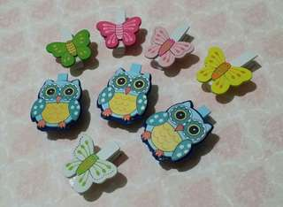Set of Owl and Butterfly Wooden Clips