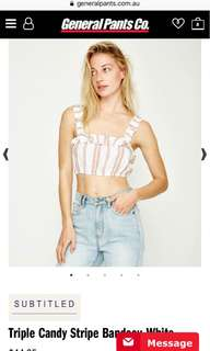 Subtitled general pants co crop top bandeau. Bnwot. Size small medium - would fit a small/8 best
