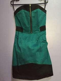 Bandeau Dress Green&Black