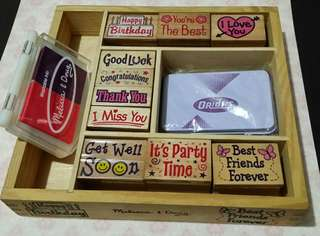 Set of Wooden Stamps with free Orions violet stamp pad