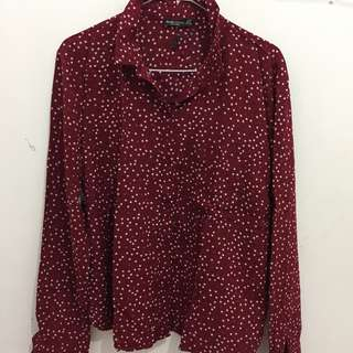 BERSHKA Red Star Shirt Kemeja Bershka