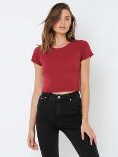 ALL ABOUT EVE | NEW | Size 6 | XS | Bergandy Take You Away T-Shirt | Maroon Tee