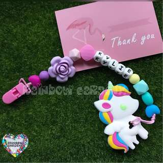 Customized Pacifier Clip with letter beads + Rainbow Unicorn Teether