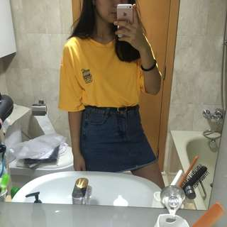 banana milk patch yellow tee