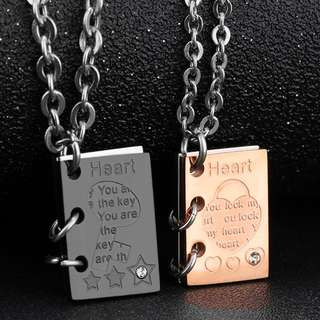 🆕 Stainless Steel  Book of Love / Key & Lock Couple Pendant Necklace
