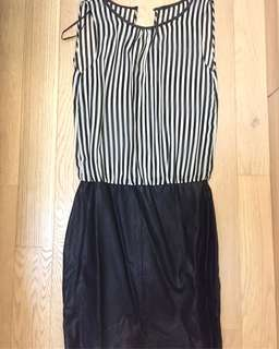 Stripe Leather Dress