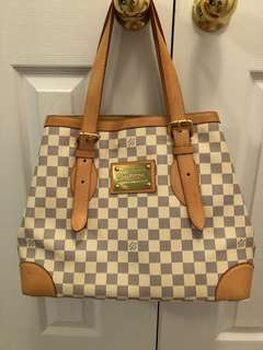 Authentic Louis Vuitton Damier Azur Hampstead GM