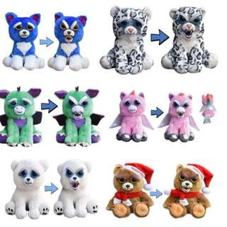 AUTHENTIC Feisty Pets Animals Unicorn Bear Panda Husky Rabbit Stuffed Soft Toy Angry Cute Face