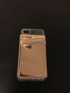 Barely used iphone 5/5s/SE phone case with rose cold card holder