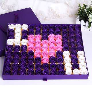 😀Fresh New Stock 😀99 stalks of handmade soap rose gift box🎁Ideal for Valentine's Day/Marriage Proposal/Birthday/Anniversary 😁 Colour : Romantic Purple & Sweet Pink 🤗