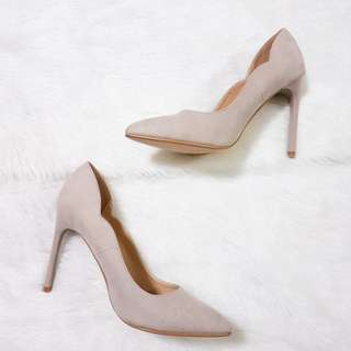 ZALORA Taupe Basic Heel Pumps with Scallop Topline