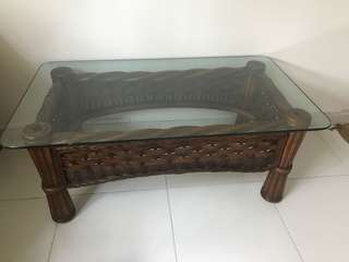 Rattan Coffeetable with Glass Top