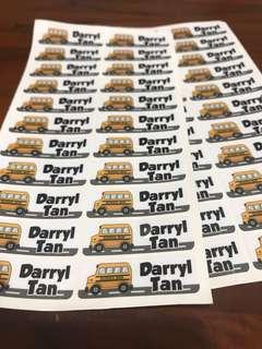 Waterproof name  school labels stickers for kindergarten nursery preschool childcare customised