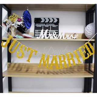 JUST MARRIED Gold Glitter Letter Banner