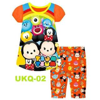 Tsum Tsum Orange  Puffed Sleeve with 3/4 Pants Set for (2 - 7 yrs old) Instock