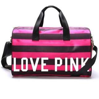 Victoria Secret Travel Bag (Black Pink Stripe)