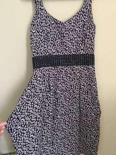 Printed Glitter Waist Dress