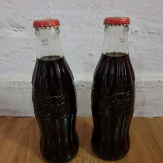 Coke glass Bottles x2