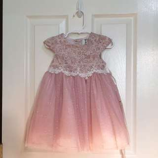 Old Rose Formal Lace Tulle Dress