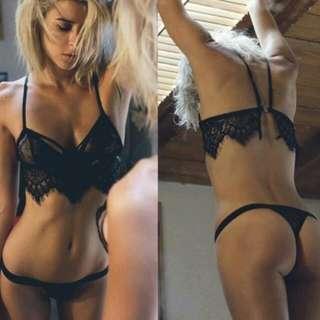 SLP725 Sexy Lingerie Bra Set Strap Lace Underwear