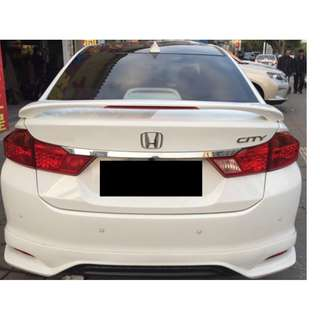 READY STOCK! HONDA CITY SPOLIER WITH BRAKE LED LIGHT + PAINT (TAFFETA WHITE)