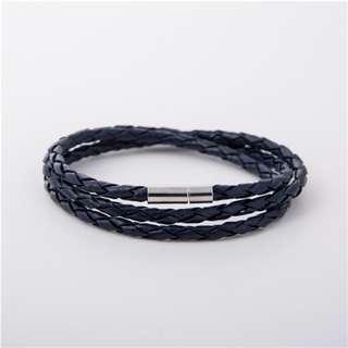 Prussian Blue - Braided Leather Bracelet | Gelang Kulit Unisex