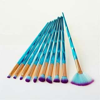 Mermaid brush set 10pcs light blue - kuas unicorn mermaid