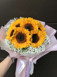 9 sunflowers And Baby Breath Hand Bouquet
