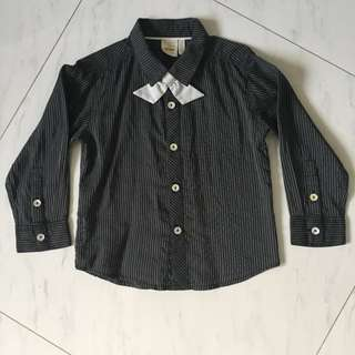 $6 Trudy & Teddy Stripe Grey Black Collared Long Sleeve Shirt with special bow tie