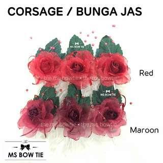 Corsage / korsage / bunga jas merah n maroon