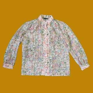 [古著] Vintage Pink Floral Shirt 復古粉紅色碎花恤衫