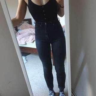 Dr denim high waisted black jeans