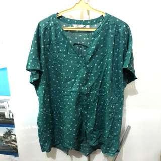 Orig Uniqlo Aqua Green polka dots blouse
