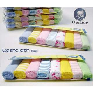 [in stock]Brand New Gerber burp wash cloth 8 pieces
