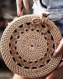 SOLD! 20cm tas sling bag anyaman rotan, women hand bag