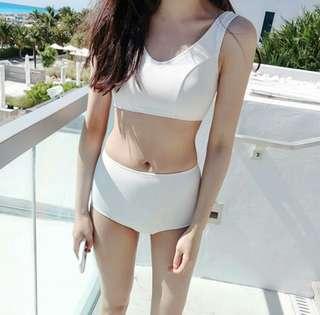 現貨💖氣質純白平角小高腰兩截式泳衣
