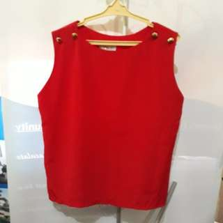 Chic Silky Red Sleeveless Blouse