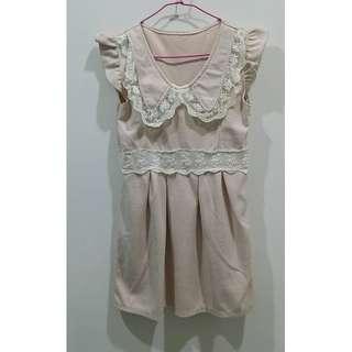 🚚 娃娃領蕾絲洋裝 粉(S)✨#女裝半價拉✨
