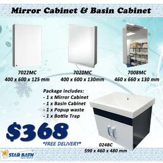 Mirror Cabinet & Basin Cabinet Package