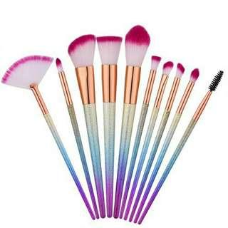 Unicorn glittery brush set 10pcs
