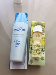 Skin aqua moisturizer with SPf 50 dan Acne Care Sariayu
