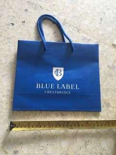 Blue label paper bag
