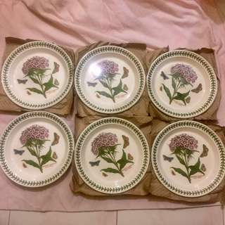Original from UK! Portmeirion Botanic Garden Seconds 8 Inch Plate Sweet William Set of 6