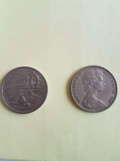 Australian 1967 20 c coin